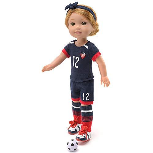 [해외]14 Inch Doll Clothes - Team USA Soccer 6 Piece UniformIncludes ShirtShortsSocksHeadwearFootballShoesFits American Girl Wellie Wishers Dolls / 14 Inch Doll Clothes - Team USA Soccer 6 Piece Uniform,Includes Shirt,Shorts,Socks,Headwe...