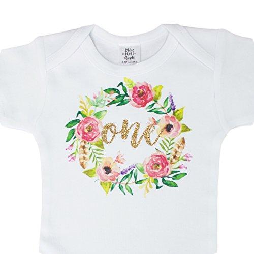 Floral Long Sleeve Onesie (Olive Loves Apple Girls 1st Birthday Onesie Watercolor Floral Boho Birhday Onesie Gold Glitter)