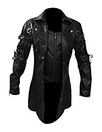 Mens REAL Black Leather Goth Matrix Trench Coat Steampunk Gothic - T18