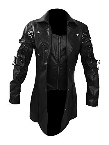 Mens Real Black Leather Goth Matrix Trench Coat Steampunk Gothic - T18 (X-Large)