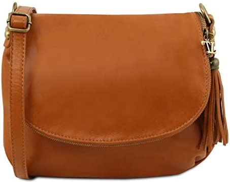 Amazon.com  Tuscany Leather - TL Bag - Soft leather shoulder bag with tassel  detail Cognac - TL141223 6  Fendess. 00a0193fac2e9