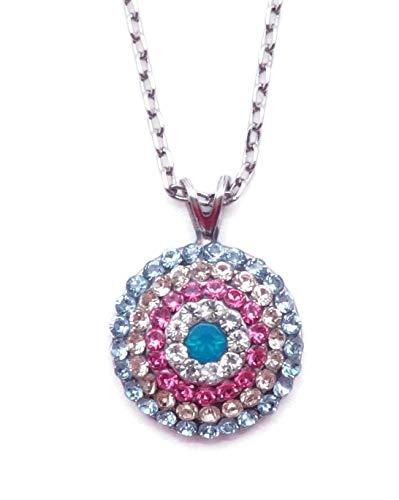 Mariana Spring Flowers Swarovski Crystal Silvertone Pendant Necklace Pastel Mix Circle Pave 2141 (Necklace Swarovski Pave Circles)