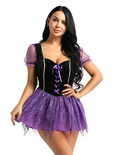 CHICTRY Women's Spiderweb Witch Halloween Costume Fairytale Roleplay Tutu Dress Purple Large ()