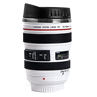 MIROO Canon SLR Camera Lens 13.5 Oz Cup for Coffee,Water and Tea, Stainless Steel Liner Vacuum Insulation