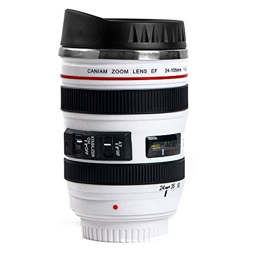 MIROO SLR Camera Lens Travel Coffee Mug 24-105 Stainless Steel Water Cup,12 Oz White