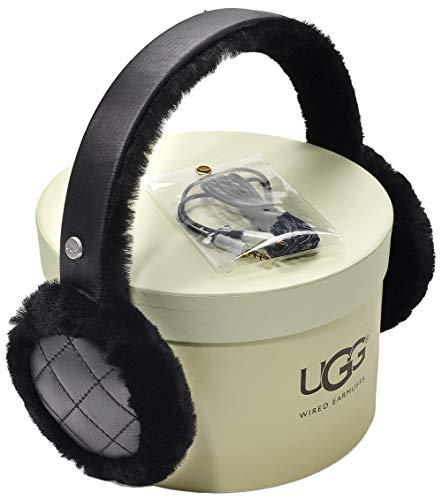UGG Women's All Weather Water Resistant Sheepskin Earmuff with Tech Option Black One Size ()