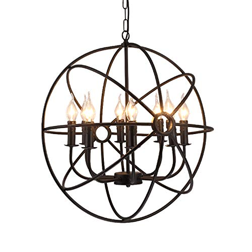 (Chandelier,Eight-Light Indoor Hanging Light Industrial Metal Retro Candle Iron Finish Pendant Light Spherical Globe Hallway Ceiling Light-8-Light 50x50cm(20x20inch))
