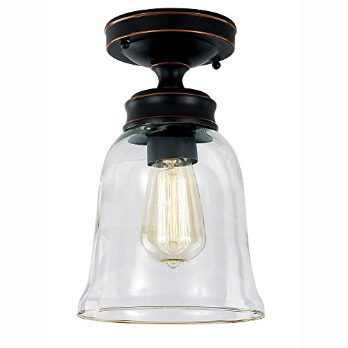 Hampton Bay 1000 052 875 Semi Flush Mount-Light Fixture with an Oil-Rubbed Bronze Finish & A Clear Glass Shade ()