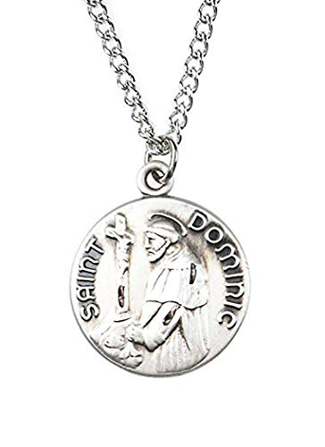 (Patron and Protector Medals Pewter Saint St Dominic Dime Size Medal Pendant, 3/4 Inch)