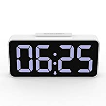 """MoKo LED Alarm Clock with 8.9"""" Large Display, 2 USB ports, Snooze, Dimmer and Alarm Voice Control, Battery Backup and 12/24 Hours Display, White"""