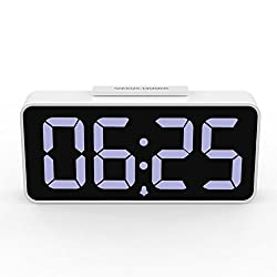 MoKo LED Alarm Clock with 8.9 Large Display, USB Ports, Snooze, Dimmer and Alarm Voice Control, Battery Backup and 12/24 Hours Display, White
