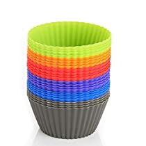 24 Packs Premium Grade Silicone Baking Cups, Zanmini Cupcake Liners Silicone Muffin Liners Molds Sets, Silicone Muffin Liners Molds, Reusable Silicone Bakeware for Cupcake Liners Molds, BPA Free and FDA Approved, 6 Colors