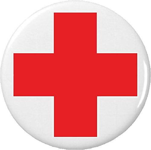 "Red Cross Symbol - Red & White Cross Symbol Sign 1.25"" Button Pin Medical Safety Lifeguard Nurse"