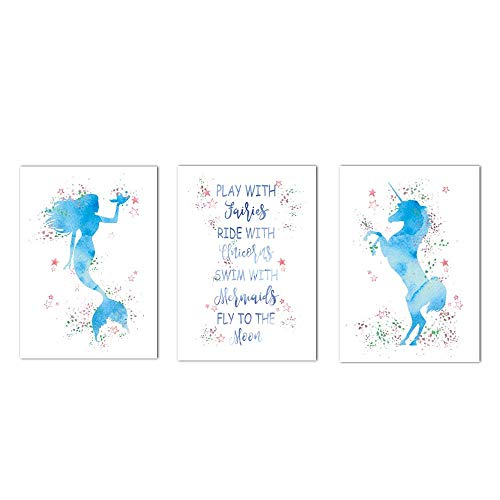 - HLNIUC Print Painting on The Wall Unicorn Poster Set of 3(8x10) with Fairies Mermaid Wall Art Canvas Poster Painting Picture for Nordic Style Children's Room Decorative Gift,No Frame