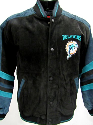 G-III Miami Dolphins Mens X-Large Full Zip Embroidered Suede/Soft Leather Jacket ADOL 38 XL