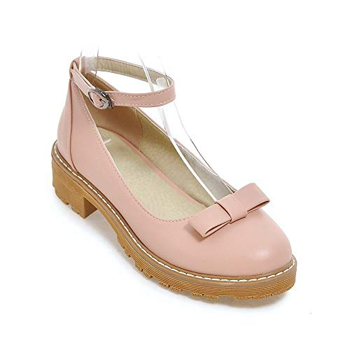 Heels Heel Head Women's Shallow Mouth Round Shoes Block wSzqU