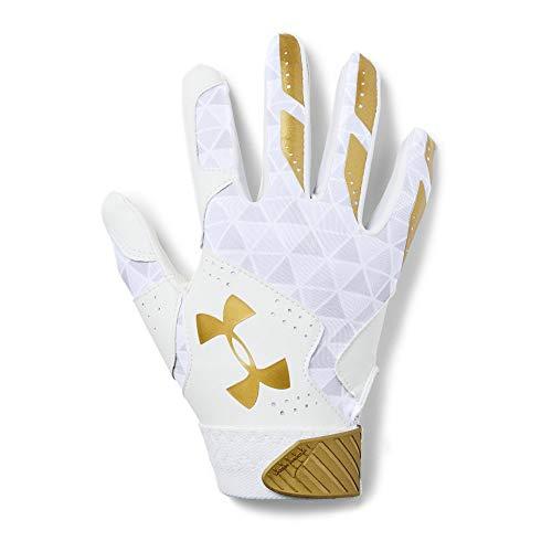 Under Armour Women's Radar Softball Gloves, White//Metallic Gold, Small