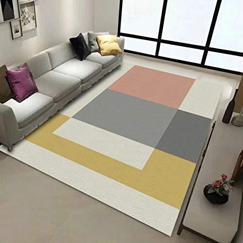 Anuey Alfombra nórdica Geometría Ocio Salón Dormitorio Pluma Impresión Decoración Alfombra Antideslizante Foyer Pad ins...