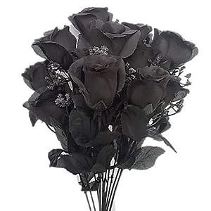 "19"" Rose Bud Bush Artificial Silk Wedding Craft Flowers Home Decor 14 Heads (Black) 54"