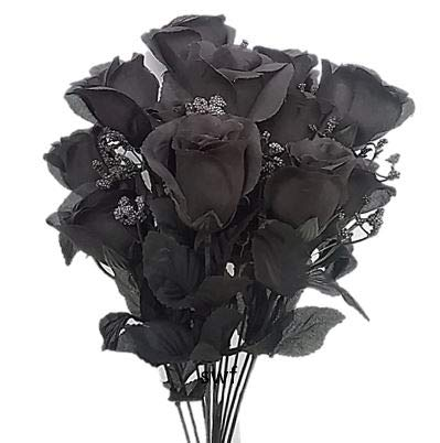 19-Rose-Bud-Bush-Artificial-Silk-Wedding-Craft-Flowers-Home-Decor-14-Heads-Black