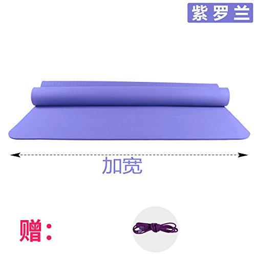 YOOMAT Verbreiterung 120 cm Doppellagige Yogamatte TPE 6 8 10 mm Anti-Rutsch Kinder Hop Dance Matte Gymnastikmatte Matten, 6 (Starter), 185 x 120 cm violett (die Schlaufe) 101844