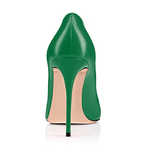 Dress On Toe Shoes Slip for Stiletto Pumps High Round Pu green Pumps yBeauty Work Heels Sandals B Place Heel Women's qIwxF74I06