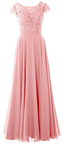 MACloth Women Cap Sleeve Mother of the Bride Dress Lace Long Evening Formal Gown (20w, Blush Pink)