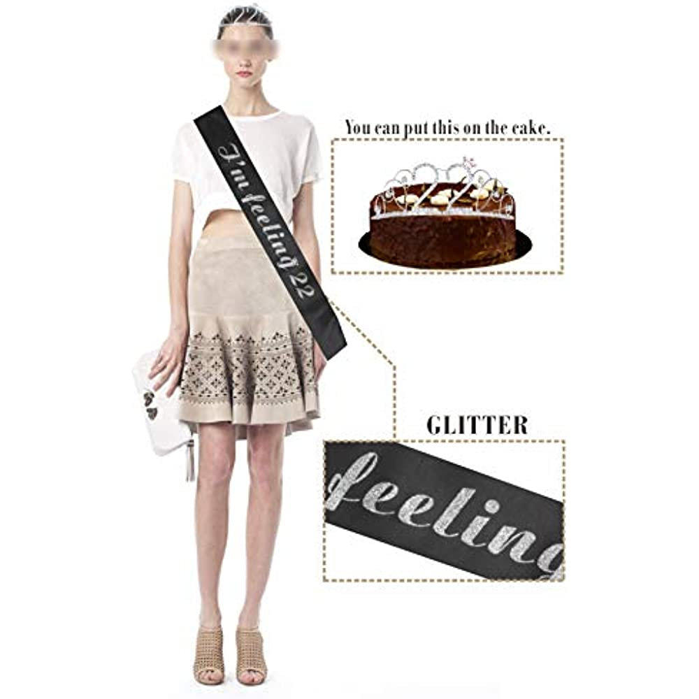 Party Supplies 22nd Birthday Tiara And Sash Happy It/&rsquos My Black Satin Crown