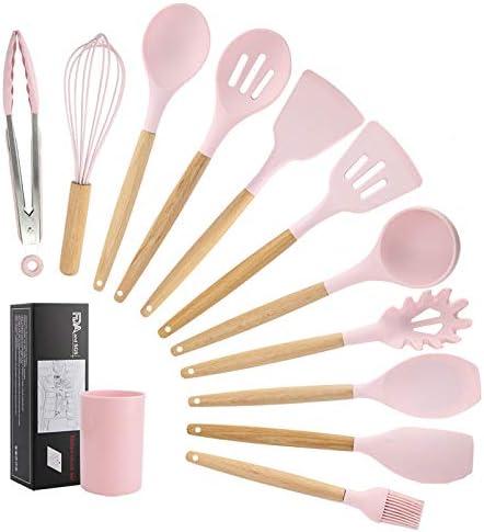 antiadh/ésif SGAONSN Lot de 12 ustensiles de cuisine en silicone avec poign/ées en bois naturel rose