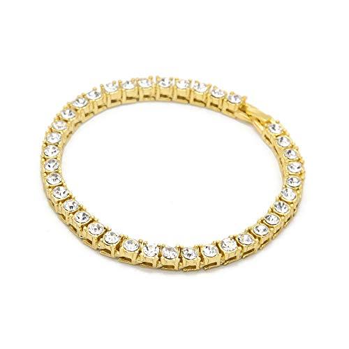 51e2c43a11 NewlyBlouW Mens Bracelet, Male Hip Hop Series Bangle Rhinestone Rope Chain  Chain Bling Crystal Wristband Gold