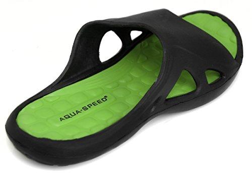 AQUA-SPEED® MONTANA Zapatos de ducha (40-44 Suela de antideslizante Con Piscina Mare + UP®-Etiqueta engomada) Schwarz / Grün 38