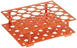 Heathrow Scientific HD24306 Orange Polypropylene Snap Together Conical Tube Rack, 207mm Length x 171mm Width x 60mm Depth