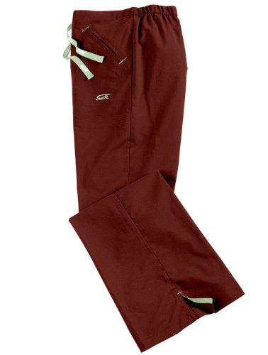 Iguana Med 'Med Flex II Flare Pant' Scrub Bottoms Merlot w/ Celery trim Medium (Scrub Women Iguana Pants)
