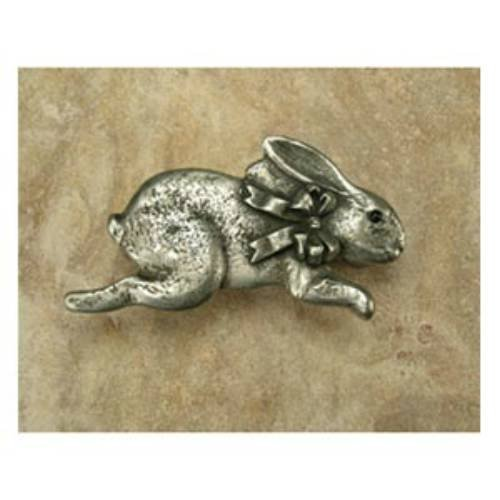 Anne at Home 40969 Bunny with Bow Facing Right Pull in Pewter Matte