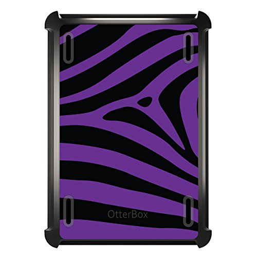 DistinctInk Case Compatible with iPad Mini 1/2 / 3 - Custom Black OtterBox Defender with Stand, Screen Protector - Black Purple Zebra Skin Stripes