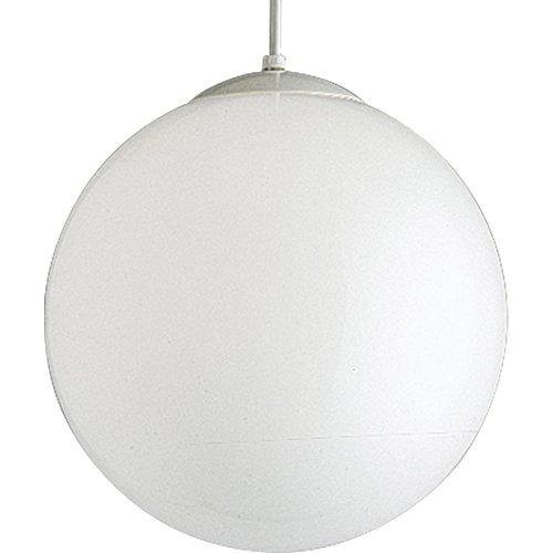 Satin Base Globe White - Progress Lighting P4406-29 Opal Cased Globes Provide Evenly Diffused Illumination White Cord, Canopy and Cap, Satin White