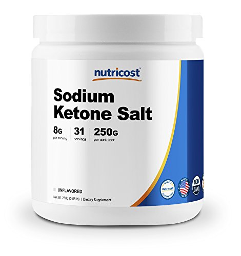 Nutricost Sodium BHB Salts, Exogenous Ketone Supplement, 6.5g Beta-Hydroxybutyrate per Serving, 250 Grams
