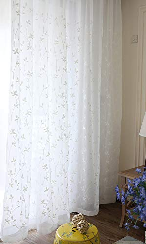 Aside Bside Nordic Beautiful Floral Embroidery Design Sheer Voile Window Curtains Rod Pocket Top Drapes(1 Panel, W 50 x L 63 inch, White) ()