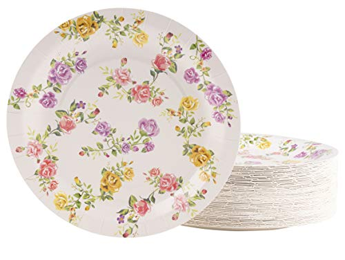 - Floral Paper Plates - 80-Pack Disposable 9-Inch Floral Plates, Tea Party, Weddings, Bridal Shower Party Supplies, Vintage Rose Flowers Print, Round Plates for Appetizer, Lunch, Dessert