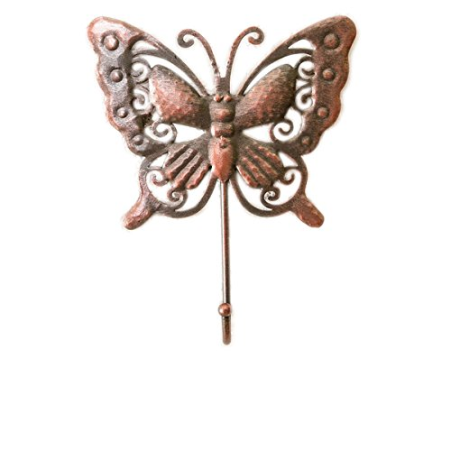 YYC 1Pair Simple Single Butterfly Shaped Curtain Wall Hook Coat Key Scarf Hanger (Copper) (Butterfly Copper Hangers)