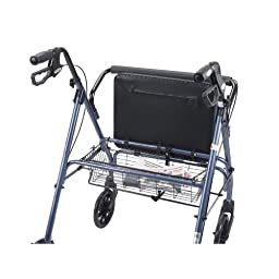 Drive Medical Heavy Duty Bariatric Walker Rollator with Large Padded Seat, Blue