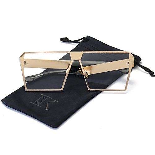LKEYE - Unique Oversize Shield Vintage Square Sunglasses LK1705 Gold Frame/Clear Lens (Oversized Sunglasses Vintage Fashion)