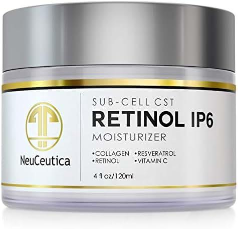 NeuCeutica Retinol Moisturizer Cream Anti Wrinkle for Neck, Face: With Collagen, Vitamin C, Resveratrol - 4 Ounce