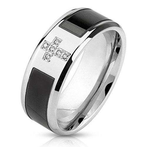 8mm Two Tone Black Strip Inlay Center with CZ Cross Stainless Steel Wedding Band - Size 11 (Cross Stainless Steel Wedding Bands)
