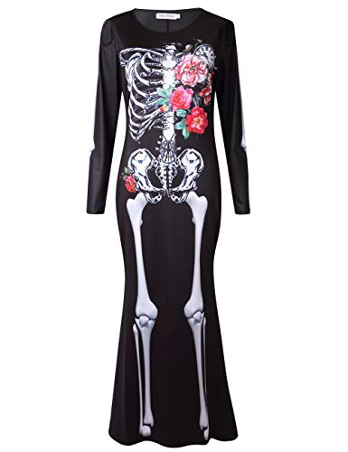 Good Halloween Costumes For Last Minute (GRACIN Womens Skeleton Halloween Costume Adult Day of The Dead Dress with 3D Printed Bones Skull(Large, Skeleton)