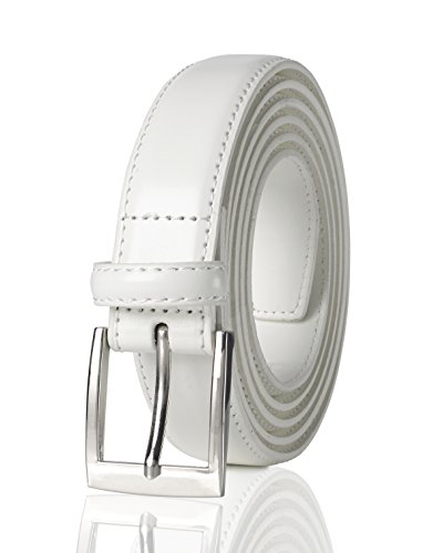Patent Buckle - Belts for Men Mens Belt Buckle Genuine Leather Stitched Uniform Dress Belt - White (36)