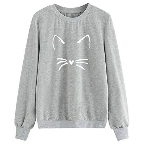 〓COOlCCI〓Women's Cat Print Sweatshirt Long Sleeve Loose Pullover Shirt Loose Pullover Shirt Tops Casual Top Blouse Gray