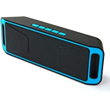 Wireless Speakers, Bluetooth Speakers, MANCASSY N8 Outdoor Portable Stereo Speaker with HD Audio and Enhanced Bass, Built-in Dual Driver Speakerphone, FM Radio and TF Card Slot (Blue)