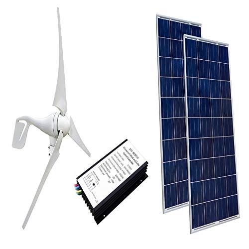 ECO-WORTHY 24 Volts 600 Watts Wind Solar Power: 1pc 12V/24V 400 Watt Wind Turbine Generator + 2pcs 12V 100 Watt Polycrystalline Solar Panel + 24cm Cable with MC4 Connector