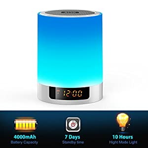 Night Lights Bluetooth Speaker, Ruoi Touch Sensor LED Bedside Lamp + Dimmable Warm Light & Color Changing, Wireless Speakers with Alarm Clock, MP3 Music Player, Best Gift for Kids, Party, Bedroom